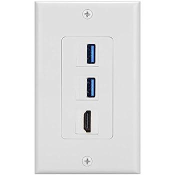 BATIGE 3 Ports HDMI & USB 3.0 Keystone Wall Plate Single GANG USB 3.0 HDMI Wall Outlet Mount Socket Face Plate Cover (2xUSB 3.0 & HDMI)