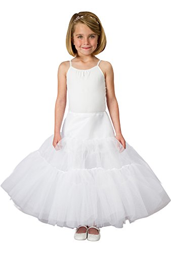 (Petticoat for Girls Cinderella Dress in White Crinoline Tulle -3 Lengths Avail ,White,Regular (up to)