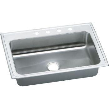 Elkay Single Basin - Elkay PSRS33221 1-Hole Gourmet Pacemaker 33-Inch x 22-Inch Single Basin Top-Mount Stainless Steel Kitchen Sink