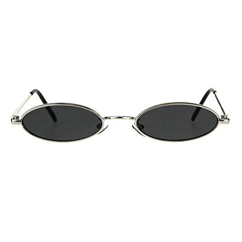 Infant Pimp Costume (Mens Oval Narrow Metal Rim Round Mod Pimp Sunglasses Silver)