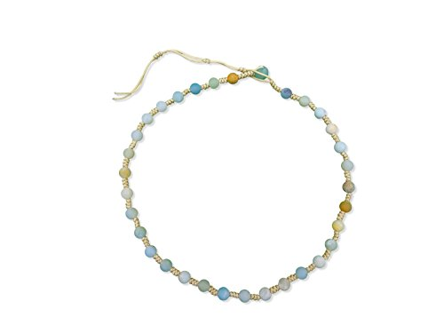 Beaded Fashion Choker Necklace - MGR Genuine Amazonite Stone Hand Beaded Tied Braided Fashion Choker Necklace
