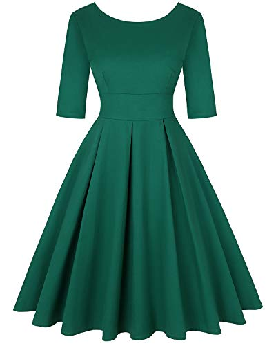 MINTLIMIT Women's 1950s Halloween Retro Dress Vintage A-Line Short Sleeves Cocktail Swing Party Dress (Solid Green,Size 2XL)