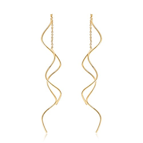 Acefeel Fresh Style Exquisite Threader Dangle Earrings Curve Twist Shape for Women's Gift E158 (18K Gold ()