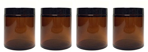 8 Ounce Amber Glass Straight Sided Jars with Spatula [4 Pack]