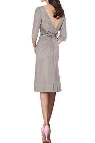 Ausschnitt Ivydressing Kurz Damen Abendkleider Lang 3 Grau 4 Steine Aermel Guertel V Festkleid Promkleid Chiffon XSSxnw