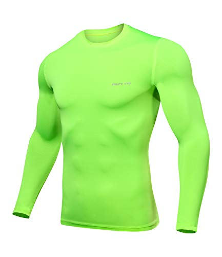 Outto Men's Long Sleeve T-Shirt Cool Dry Compression Base Layer for Sports(X-Large,L119A Green)