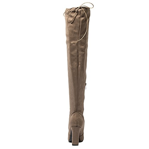 Mostrin Womens Faux Suede Thigh High Over The Knee Boots Chunky High Heels Pointy Round Toe Boots Khaki PjJAunZ9O