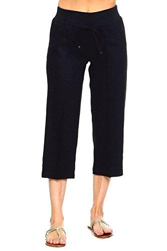Betsy Red Couture Women's Drawstring Linen Capri Pants(S-4X) (Black, M) ()