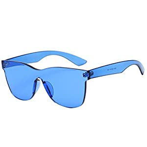 Sunglasses Glasses Women Fashion Square Shades Sunglasses Integrated UV Candy Colored Glasses (Blue, 5.6)