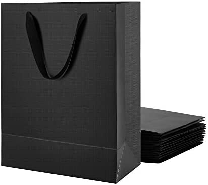 Amazon Com Malicplus 12 Large Gift Bags 10x5x13 Inches Premium Matte Black Large Bags With Handles Cotton For All Occasions Grid Pattern Everything Else