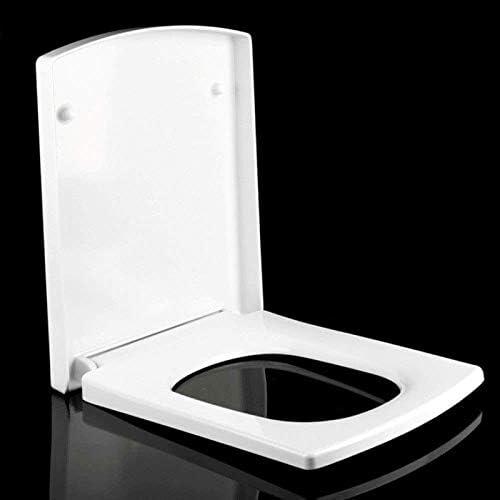 トイレのふた便座、トイレシートソフトクローズ尿素-ホルムアルデヒド樹脂カバースクエアトイレ用、ウルトラ耐性、ホワイト-42.4〜46.8 * 37.5cm