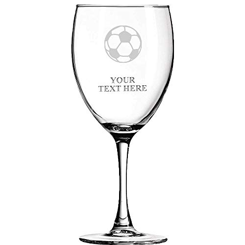 Soccer Ball Personalized Wine Glass - 10.5 oz Soiree Soccer Coach Wine Glass Gift With Custom Engraving Prime