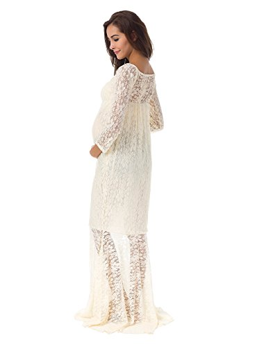 cd545afc9cf82 JustVH Women's Off Shoulder Long Sleeve Lace Mermaid Maternity Gown Maxi  Photography Dress