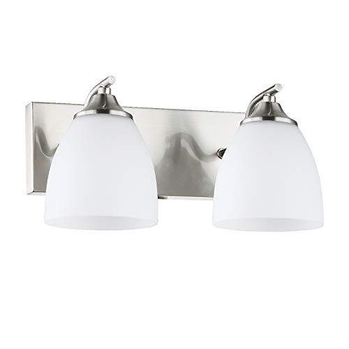 (OSTWIN 2-Light Bath Bar Light Up or Down, Interior Bathroom Vanity Wall Lighting Fixture VF42, 2x60 Watt E26 Socket, Satin Nickel Finish with Opal Oval Cone Glass Shade, UL Listed)