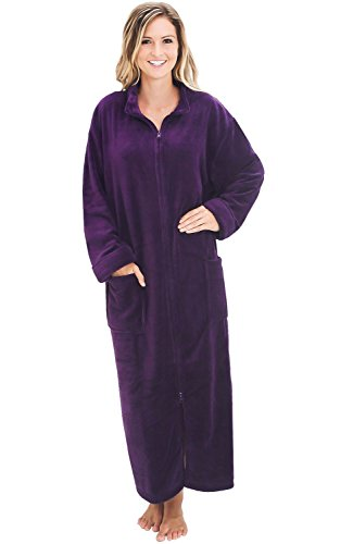 Alexander Del Rossa Women's Zip Up Fleece Robe, Warm Loose Bathrobe, Large XL Purple (A0300PURXL) (Vanity Slit Fair One)