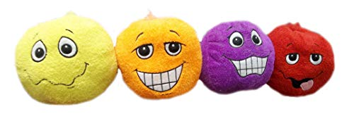 9 inch Adorable Orange Smiley face Plush Toy (Orange, Yellow, Purple and red). Ship in a Set of 4 (Smiley Purple Face)