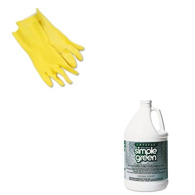 KITBWK242LSPG19128 - Value Kit - Simple Green All-Purpose Industrial Cleaner/Degreaser (SPG19128) and Galaxy 242L Yellow Reusable Flock Lined Gloves, Large (BWK242L) by Simple Green