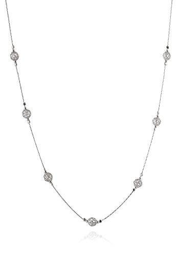 (Elegant 925 Sterling Silver Necklace with Wire Mesh Net Bead Stations, 18