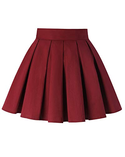 MINTLIMIT Women's Flower Print Mini Skirt High Waisted Knee Length Pleated A Line Skirts(Solid Wine Red,Size S)