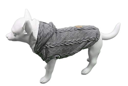 Furzy Fleece-Lined Cable Knit Sweater Hood Dogs (Large, Grey)