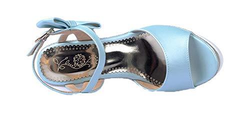 Femme Unie Talon à Bleu d'orteil GMBLB014930 Ouverture Couleur Sandales AgooLar Haut pPAqdp