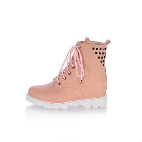 1TO9 Heels Leather Rivet Bandage Chunky Pink Boots Womens Imitated qqxzfSFn