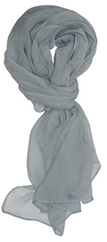 - Ted and Jack - Solid Color Silk Blend Lightweight Accent Scarf (Medium Grey)