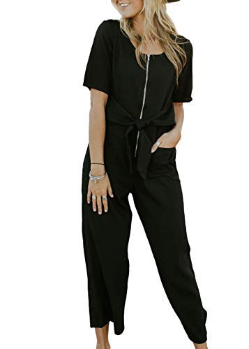 Cosygal Women's Striped Linen Short Sleeves Wide Leg Palazzo Jumpsuit Romper with Zip Pockets Tie Black -