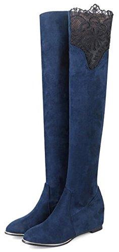 Idifu Womens Dressy Lace Spliced sopra Stivali Alti Al Ginocchio Mid Zeppa Allinterno Stivaletti Satinati Blu