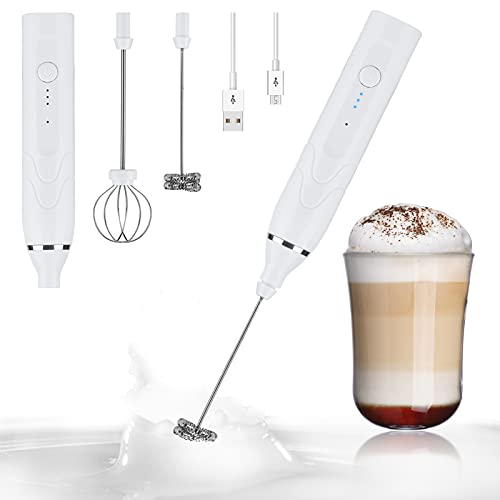 Onlyesh Batidora de Leche Eléctrico, USB Recargable Batidor de Huevos de Mano, 3 Velocidades Ajustables, Para Capuchino, Café, Leche