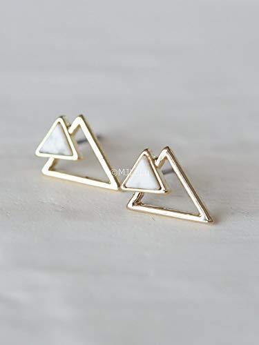 Double Chevron Triangle Geometric Marble Pattern Stud Earrings