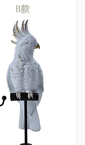 ZAMTAC and Contemporary Resin White + Gold Old Parrot Bird to Bird Articles Jewelry Frame, Wrought Iron Decorations pet cozinha Craft - (Color: Light Grey)