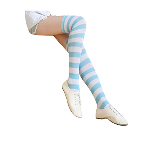 Women's Cute Colorful Long Striped Socks Over Knee High Stockings,Wide,blue&white (Kids Black And White Striped Tights)