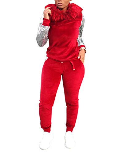 - Women's Two Piece Outfits Velour Sequins Tracksuit Sweatsuit Activewear Red XL