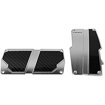 UrMarketOutlet NRG PDL-400BK Brake//Gas//Clutch Manual MT Sport Race Foot Pedal Plates Cover Set Black w//Silver Carbon Fiber Trim