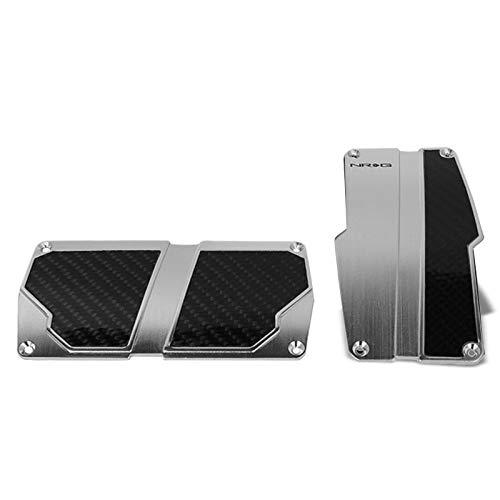 UrMarketOutlet NRG PDL-150SL Brake/Gas/Clutch Automatic at Sport Race Foot Pedal Plates Cover Set (Silver w/Black Carbon)
