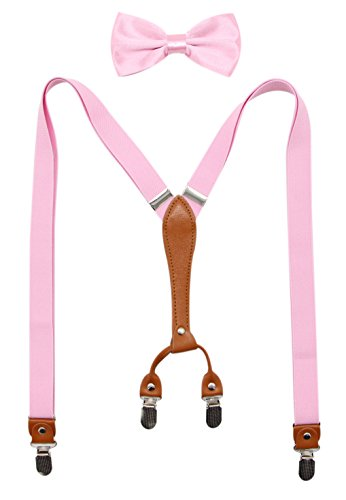 Biotetri Men Suspenders & Pre Tied Bowtie Set | Adjustable Straps, PU Leather (Pink)
