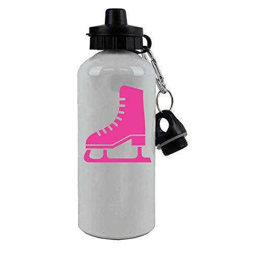 Personalized Custom Ice Skates, Hockey, Figure Skating Aluminum White Finish 20 Ounce 600ML Sport Water Bottle, 2 Lids - Customizable (Hot Pink) ()