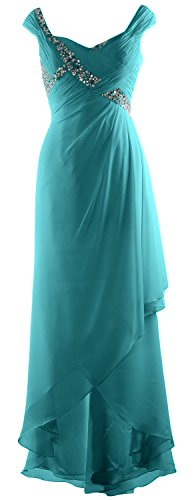 Chiffon Neck High V Formal Mother Macloth Elegant Gown Dress Maxi Of Turquoise Low Bride 4L5RAjq3
