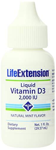 Life Extension Liquid Vitamin D3 2000 IU, Natural Mint Flavor, 1 ounce