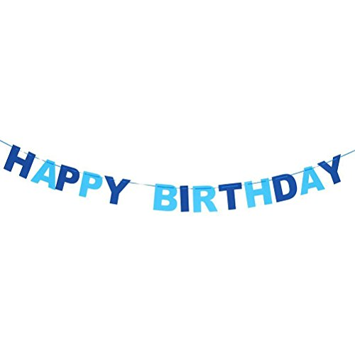 WINOMO HAPPY BIRTHDAY Pennant Flags Bunting Garland Banner Party Home Hanging Decor (Blue)