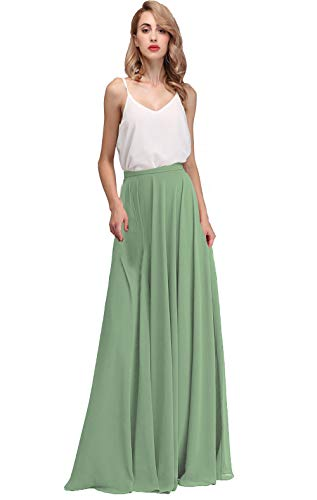 - Honey Qiao Long Chiffon Bridesmaid Skirts Empire Formal Maxi Skirt Pale Green
