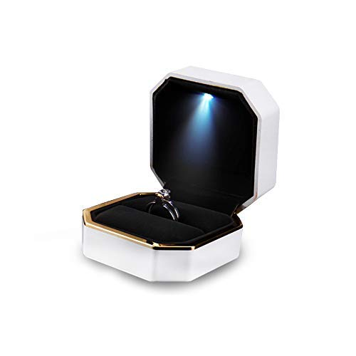 Valentines Day Gifts, Ring Box, ASAPS Square White Velvet Wedding Ring Box with LED Light for Proposal/for Engagement