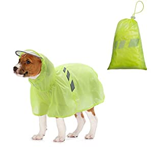 BINGPET Dog Raincoat for Small to Large Dogs - Waterproof Pet Rain Jacket with Hood – Reflective/Lightweight Rain Poncho Yellow 28