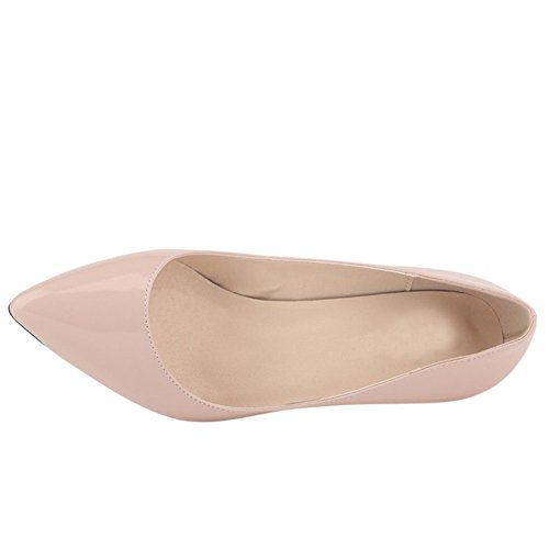 Fereshte Womens Color Caramella Punta A Punta Tacco Medio Pu Pump Shoes Nude