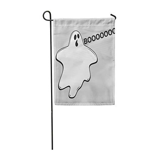 Tarolo Decoration Flag Happy Halloween Whisper Ghost Character Emoticons White Avatar of Crazy Funny Phantom Spooky Spirit Flat Thick Fabric Double Sided Home Garden Flag 12