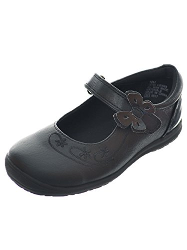 Rachel Shoes Girls' Vienna Mary Jane Flat, Black Smooth, 7 M US Toddler