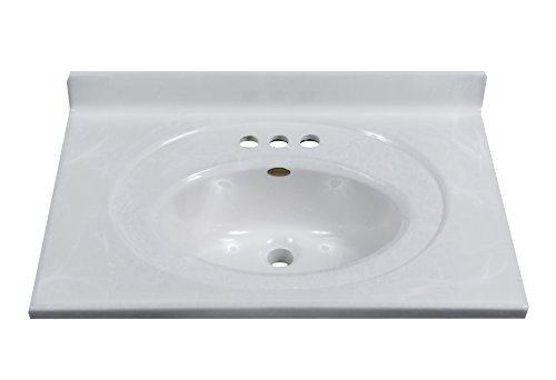 Imperial FS2519W Bathroom Vanity Top with Recessed Center Oval Bowl, White on White Gloss Finish, 25-Inch Wide by 19-Inch Deep