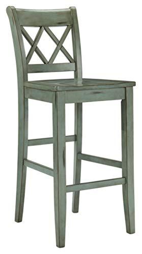 Ashley Furniture Signature Design - Mestler Bar Stool - Pub Height - Vintage Casual Style - Set of 2 - Blue / Green - High Back Bar Stools