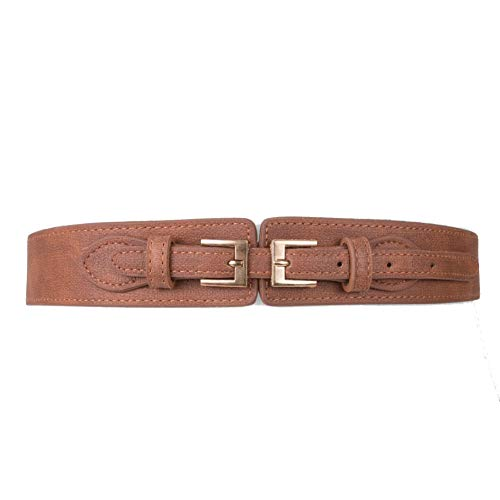 (Two 12 Fashion Women's Vegan Leather Double Buckle Stretch Belt - Multiple Colors)